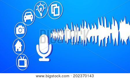 Microphone on blue with sound waves and devices arranged around it smart voice control assistance concept 3D illustration flat design