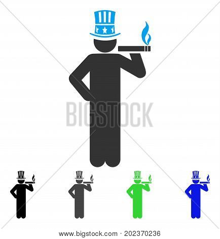 American Capitalist vector pictogram. Style is a flat graphic symbol in black, grey, blue, green color variants. Designed for web and mobile apps.