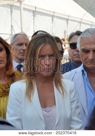 Giffoni Valle Piana Sa Italy - July 13 2017 : Maria Elena Boschi at Giffoni Film Festival 2017 - on July 13 2017 in Giffoni Valle Piana Italy