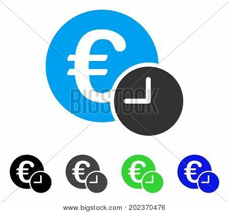 Euro Credit vector icon. Style is a flat graphic symbol in black, grey, blue, green color versions. Designed for web and mobile apps.