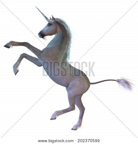 White Unicorn 3d illustration - A Unicorn is a white magical horse with cloven hoofs a forehead horn and a beard and is a creature of mythology.