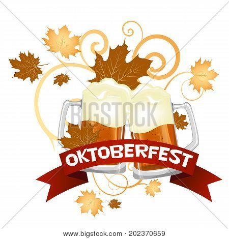 Oktoberfest. Welcome to the beer festival. The invitation, flyer or poster for the holiday. Two large glass of beer. Stock vector.