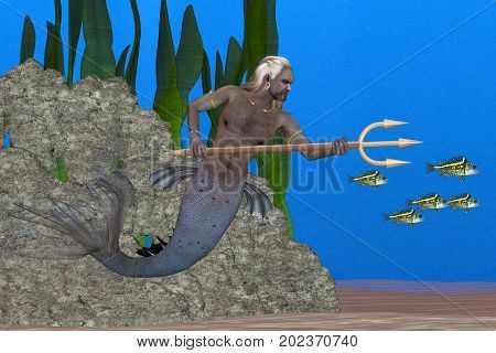Triton the Sea God 3d illustration - Triton son of Poseidon carrying a trident is the messenger of the sea according to Greek legend.