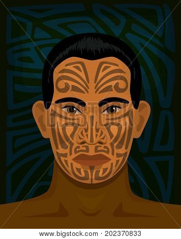 maori man with tattoed face and tribal background behind him