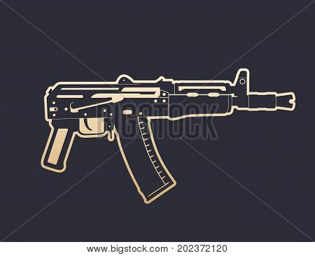 Soviet automatic carbine, shortened assault rifle, gun with outline, vector illustration