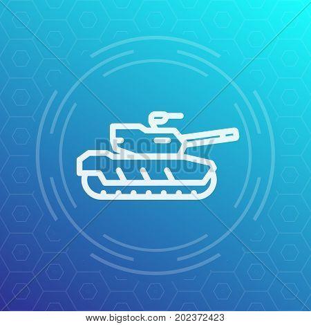 modern tank line icon, heavy armoured combat vehicle