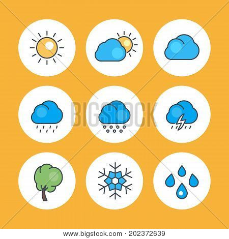 Weather icons with outline, rain, snowflake, hail, wind, sun, snow, clouds