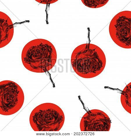Seamless pattern with red rose flower isolated on white background. Graphic drawing pointillism technique. Botanical natural collection. Floral illustration drawn by hand
