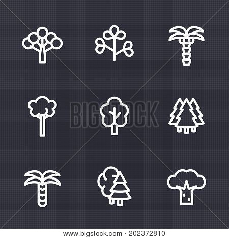 Trees icons set in linear style, white on dark