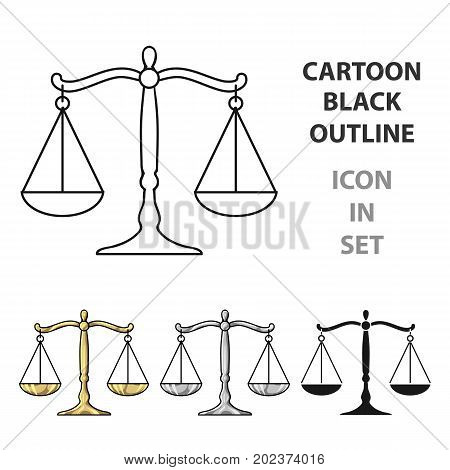 Scales of justice icon in cartoon style isolated on white background. Crime symbol vector illustration.