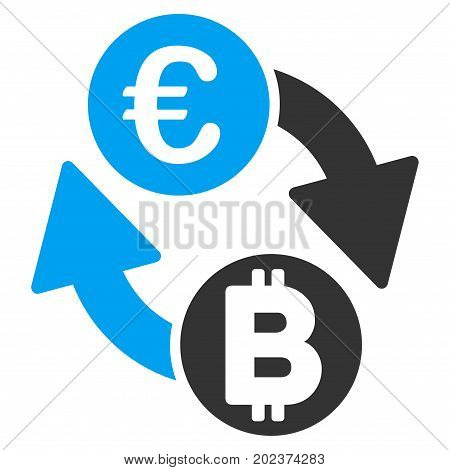 Euro Bitcoin Exchange Coins vector pictogram. Style is flat graphic symbol.