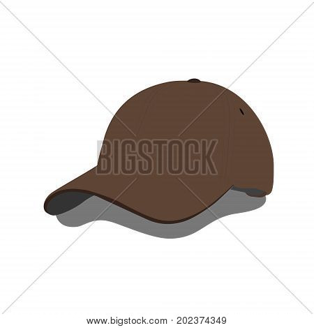 Vector illustration brown baseball cap or hat with shadow. Baseball cap icon