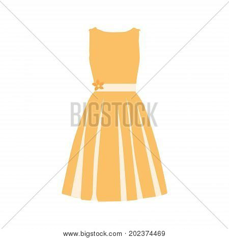 Beautiful orange summer dress vector illustration. Woman dress. Cocktail dress