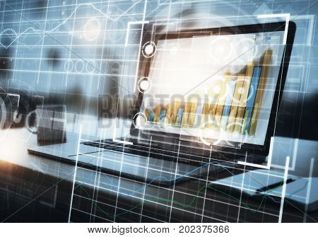 Side view of workplace with laptop coffee cup other items and abstract digital grid interface. Future and technology concept. Double exposure