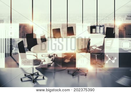 Modern meeting room with digital business interface and city view. Technology and communication concept. Double exposure
