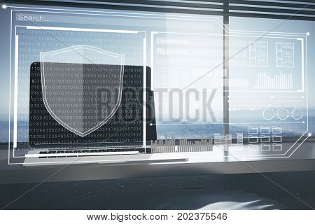 Front view and close up of modern workplace with laptop antivirus interface and panoramic window view. Password concept. Double exposure