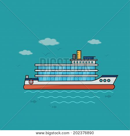 Nautical vehicles: sail boat ship vessel speedboat with buoy. Vector icon isolated on blue background.
