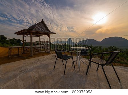 chairs and hut on top of mountain on travel destination view point