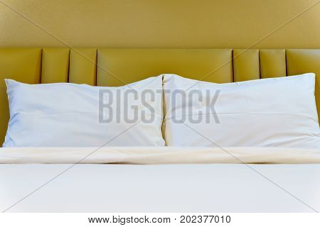 Bed In A Room Of Hotel Or Apartment. Well And Nice Preparation Of Bed For Hotel Services. Bed In Hot