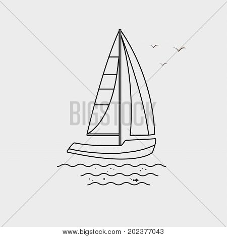 Nautical vehicles: sail boat ship vessel luxury yacht speedboat. Vector icon isolated on grey background.