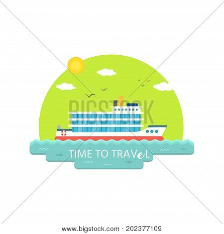 Nautical vehicles: sail boat ship vessel speedboat with buoy. Time to travel. Vector icon isolated on green background.