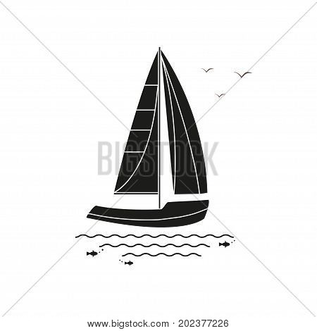 Nautical vehicles: sail boat ship vessel luxury yacht speedboat. Vector icon isolated on white background.