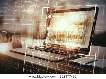 Side view of workplace with laptop coffee cup other items and abstract digital grid interface. Future and finance concept. Double exposure