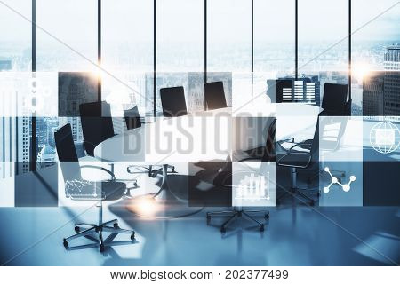 Modern conference room with digital business interface and city view. Technology and communication concept. Double exposure