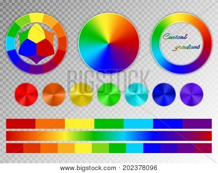 A set of rainbow elements. Color wheel, multi-colored conical gradients with a metal texture on a transparent background.