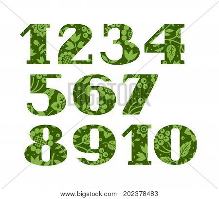 Numbers, green berries and grass, vector. Figures with serifs. Green twigs with berries and herbs on a dark green background.
