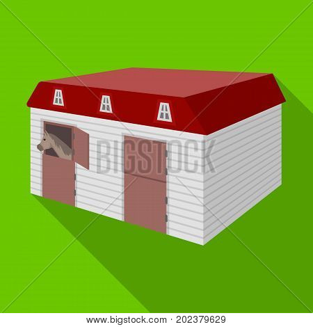 The stable building at the racetrack. Stable room single icon in flat style vector symbol stock illustration .