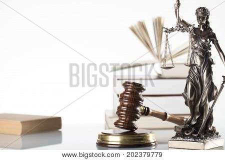 Law symbols isolated. Themis, books and gavel of the judge.