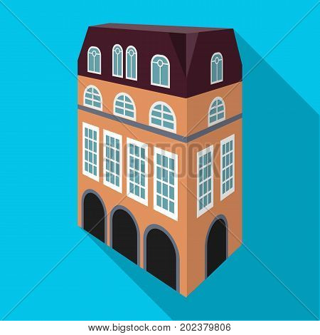 Typical English house. Architecture of the house single icon in flat style vector symbol stock illustration .