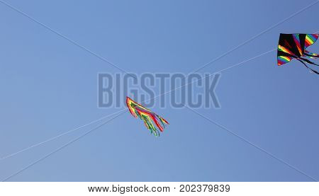 Two Huge Kites Fly In The Blue Sky In The Summer