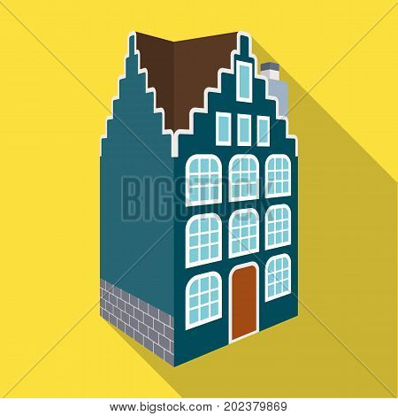 Traditional Scandinavian building. Architecture of the house single icon in flat style vector symbol stock illustration .