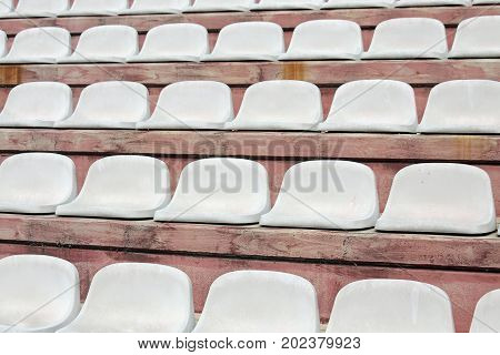 Seats On Stadium Bleachers With No People Before The Meeting Spo