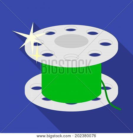 Metal bobbin for sewing. Sewing and equipment single icon in flat style vector symbol stock illustration .