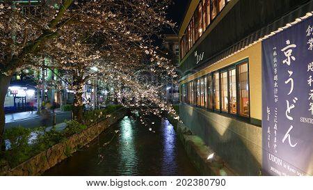 Beautiful Sakura Season In Kyoto City Stree View With Nice Bridge For Background