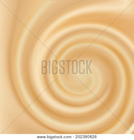 Swirling creamy caramel texture. Vector illustration Food background