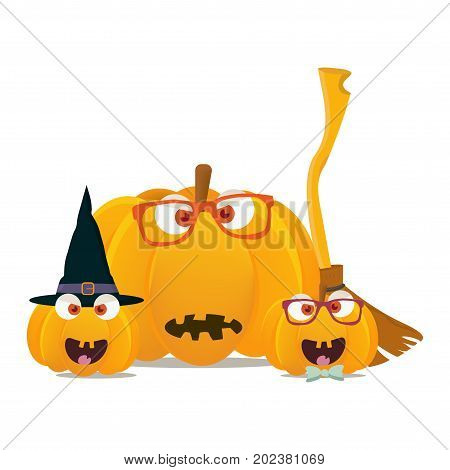 Vector illustration: halloween pumpkins mascots. Pumpkin or squash family faces with witch broom and wizard hat. Great for Halloween, known as Allhalloween, All Hallows' Evening or All Saints' Eve.