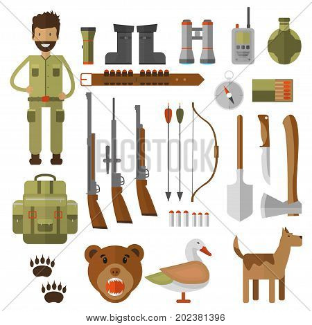 Set of hunting equipment and gear for hunt. Vector icon collection: rifle knife shotgun boots binoculars flashlight lantern compass backpack and cartoon character.