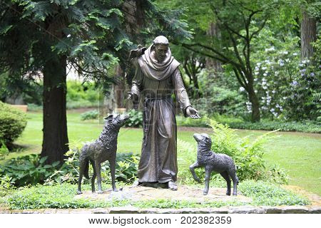 The Grotto, Portland, Oregon State - Jun 1, 2017: The religious statues of St. Francis of Assisi
