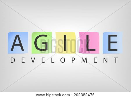 Text with for agile development software as vector illustration