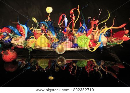 Seattle, Washington - May 31, 2017: The colorful glass artware in Chihuly Garden and Glass