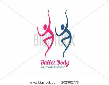 Dance icon concept. Ballet studio logo design template. Fitness dance class banner background with symbol of abstract people ballerina and dancer in dancing poses. Vector illustration.