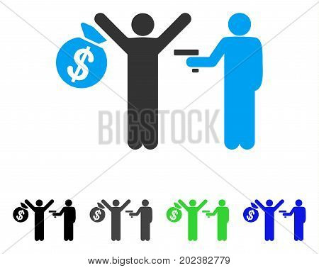 Armed Robbery vector pictogram. Style is a flat graphic symbol in black, grey, blue, green color variants. Designed for web and mobile apps.