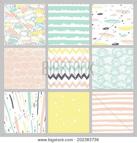 Hand drawn pattern collection. Set of 9 simple textures for backround fabric scrupbook baby shower or other types of design.