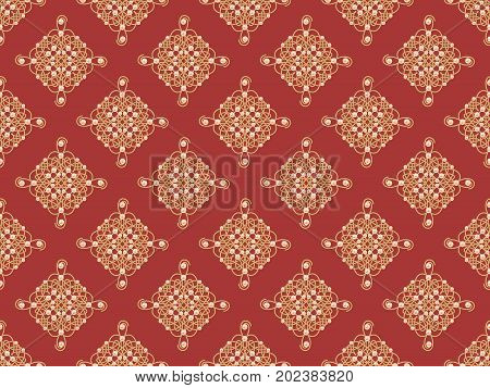 Elegant golden knot sign. Red and golden yellow seamless pattern beautiful calligraphic flourish with pearls. Raster illustration