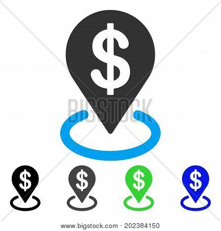 Dollar Placement vector icon. Style is a flat graphic symbol in black, gray, blue, green color versions. Designed for web and mobile apps.