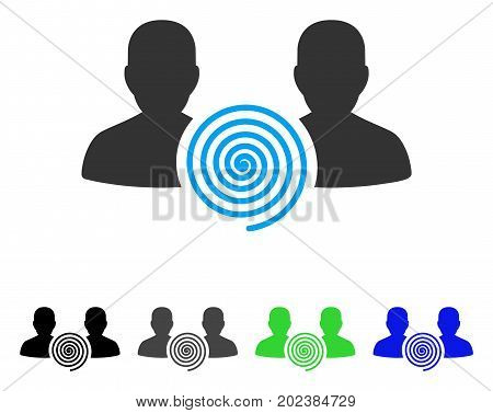 Hypnosis Sect vector pictograph. Style is a flat graphic symbol in black, grey, blue, green color variants. Designed for web and mobile apps.
